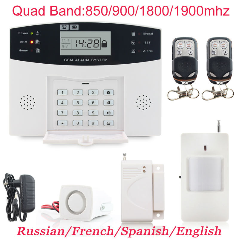 LCD Keypad Wireless GSM Alarm Systems PIR Home Security Alarm System Burglar Auto Dialing Dialer SMS Call Free Shipping wireless service call bell system popular in restaurant ce passed 433 92mhz full equipment watch pager 1 watch 7 call button