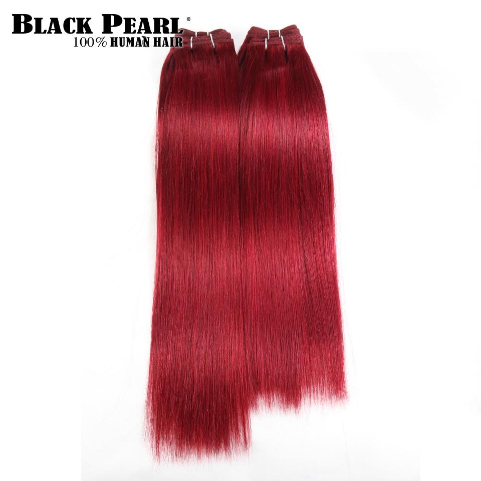 Black Pearl Pre-colored Yaki Human Hair Bundles 4 Pcs One Pack 190 Gram Brazilian Straight Hair Weave Red Burg# Non-Remy Hair