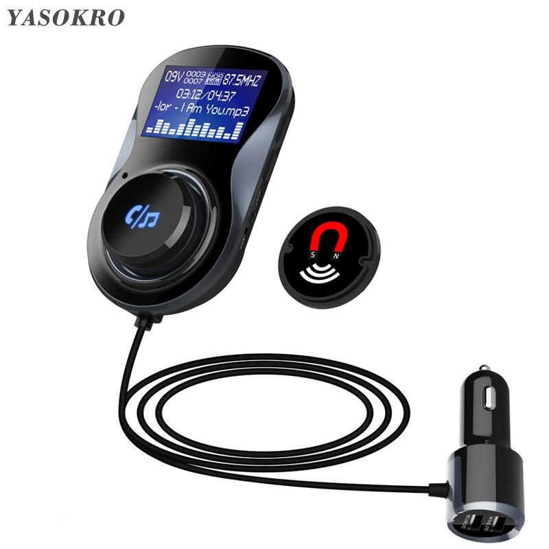 YASOKRO FM Transmitter Modulator BC30 Handsfree Bluetooth Car Kit Support TF Card MP3 Play Car Audio Adapter 3.1A Car Charger