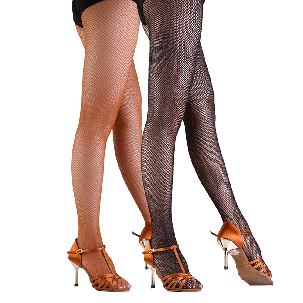 2017 Sexy Women Latin Dance Black Caramel Socks One Size Stage Leggings Practice Competition Net Stockings Accessories DW1111