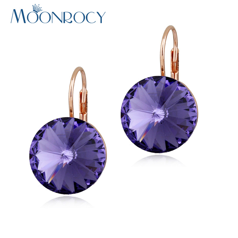 MOONROCY Drop Shipping Round Crystal Earrings Jewelry Wholesale Rose Gold Color Wedding Earrings Dangle for Women Blue Purple azora new arrival gold color round champagne crystals dangle earrings for women party fashion drop earrings jewelry te0294