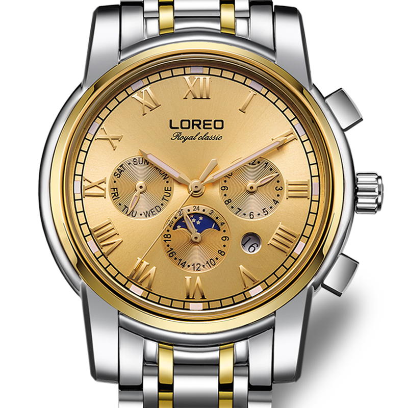 LOREO Germany watches men luxury brand automatic self-wind moon Phase sapphire luminous golden stainless steel relogio masculino loreo 6004 germany watches men luxury brand quartz sapphire water resistant 5atm luminous calendar chronograph relogio masculino