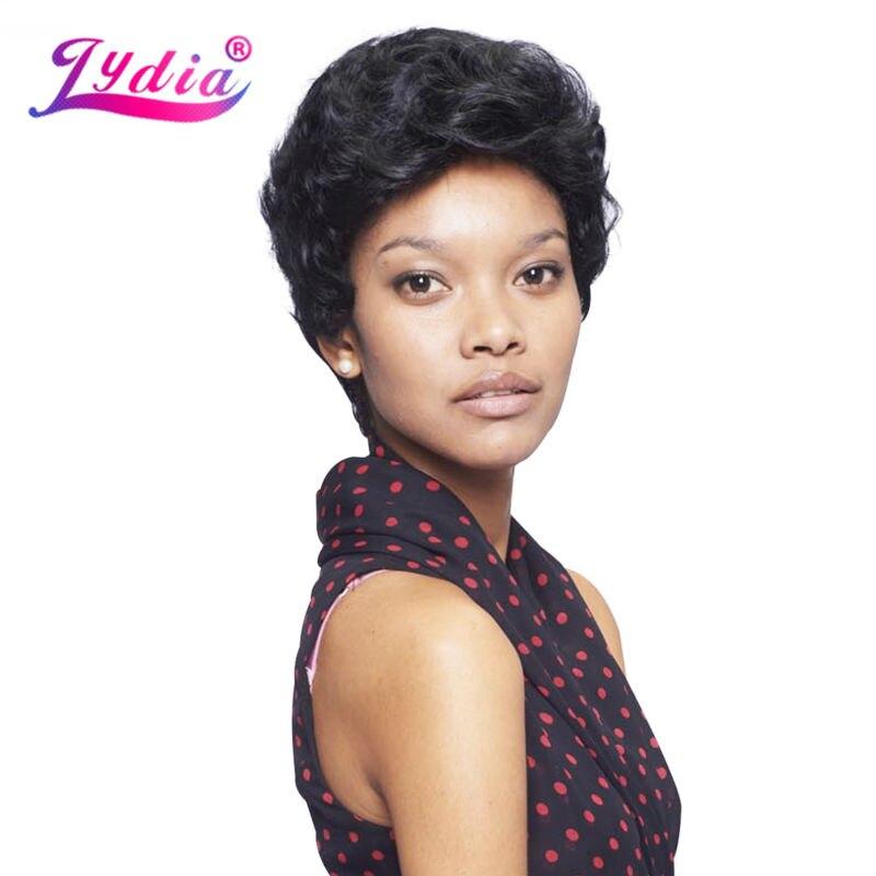 Lydia Synthétique Perruques Pour Femmes Noires Pur Couleur Bouclés