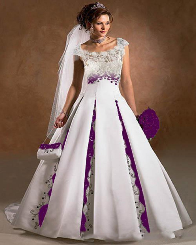 purple and white wedding dress a line satin lace embroidery court train 2016 luxury capped sleeves