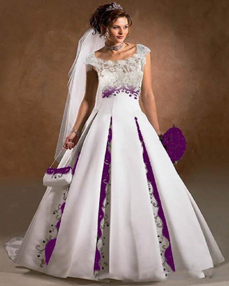 Purple And White Wedding Dress A Line Satin Lace