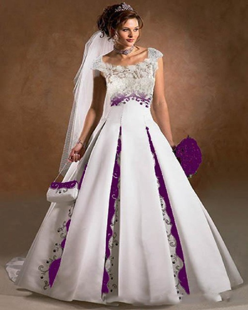 Purple and white wedding dress a line satin lace embroidery court purple and white wedding dress a line satin lace embroidery court train 2016 luxury capped sleeves junglespirit