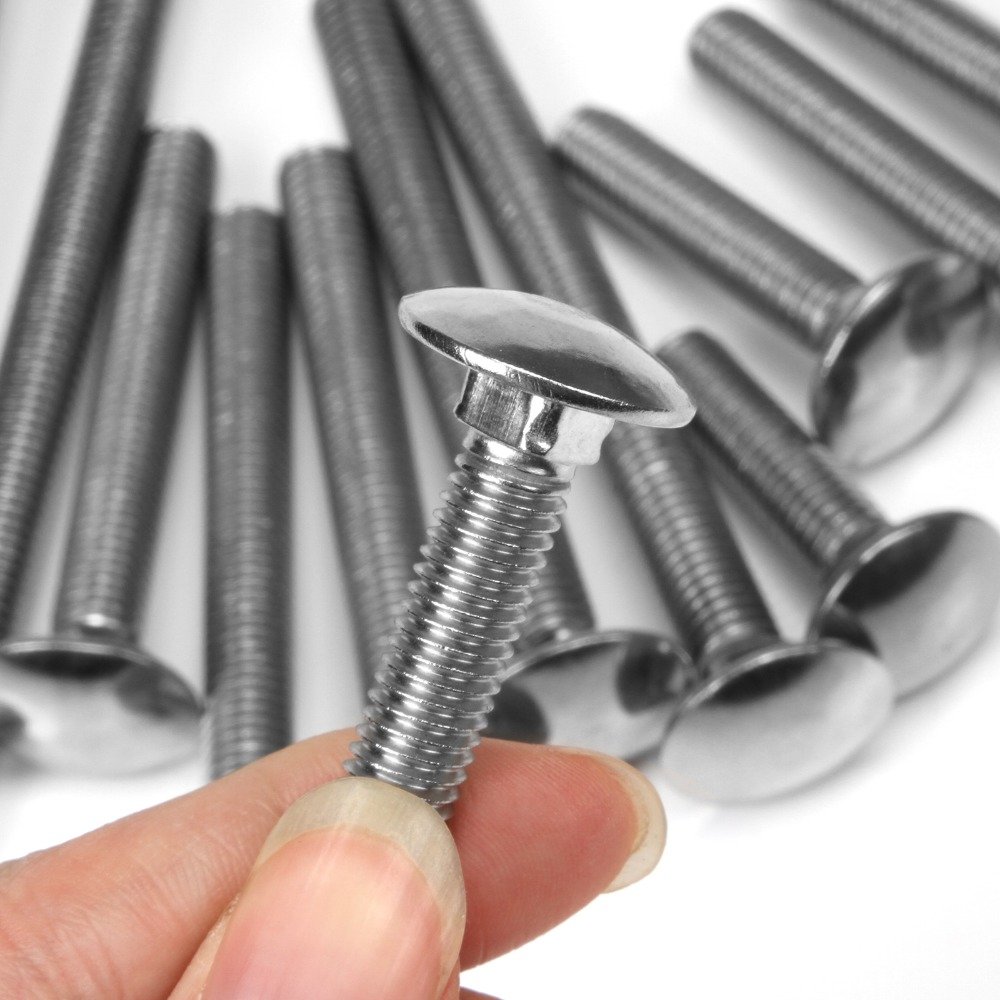 304 Stainless Steel M8x16mm 20pcs Round Head uxcell Carriage Bolts Square Neck Neck Carriage Bolt