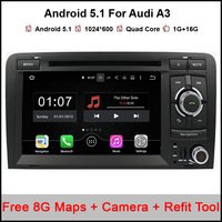 7 inch Android 5.1 Car DVD Player for Audi A3 2001 2011 Quad Core Car stereo GPS Radio Headunit DAB+ 1080P Mirroring & OBD2