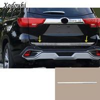 For Toyota Highlander 2015 2016 2017 Car body styling stick Stainless steel Rear door License tailgate bumper frame trim trunk