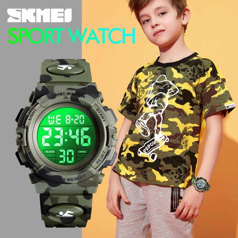 Skmei militar crianças esporte relógios 50 m à prova dwaterproof água relógio de pulso eletrônico parar relógio digital para meninos meninas