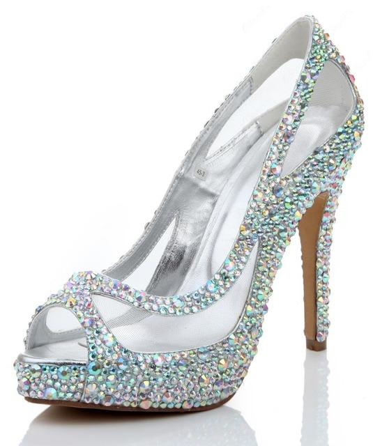 f0c36c18a898 Shining rhinestone peep toe mesh stiletto heel pumps platform embellished high  heels shiny crystal wedding shoes free shipping