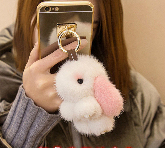 mini rabbits pokemon girl keychains real mink bunny keychain fur key chains bags bunnies Trinket pompon fur hare  phone pendant