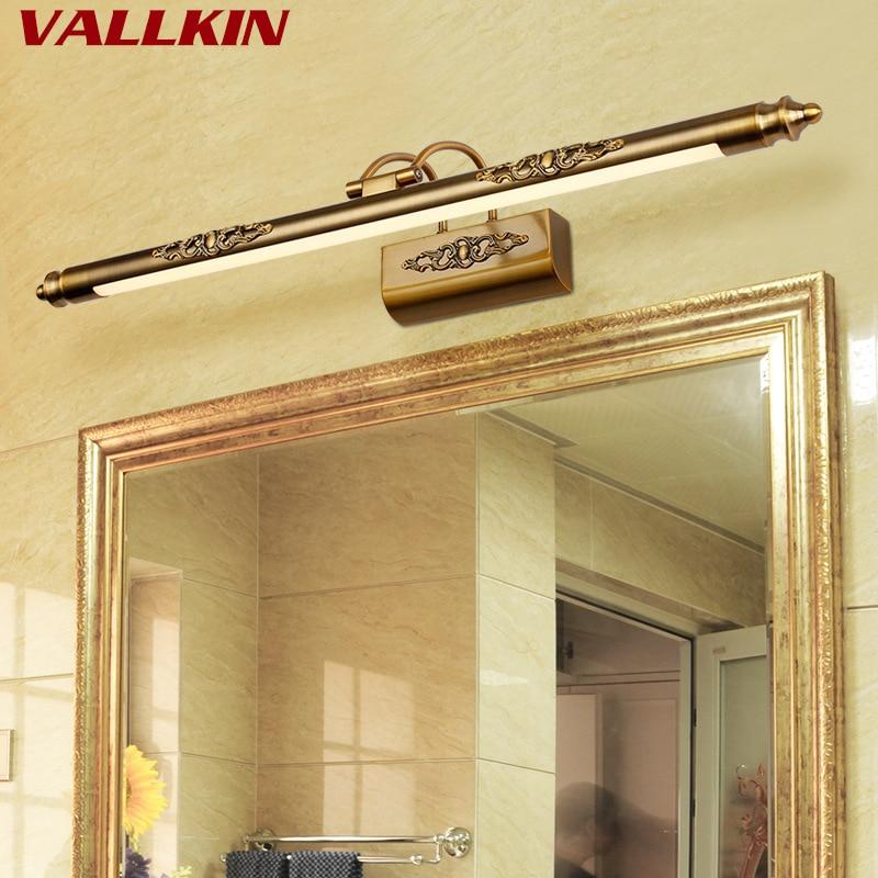 European Antique LED Mirror Headlights Moisture-Proof Bathroom Wall Lamp Retro Rocker Mirror Cabinet Light Indoor Wall Lighting цена