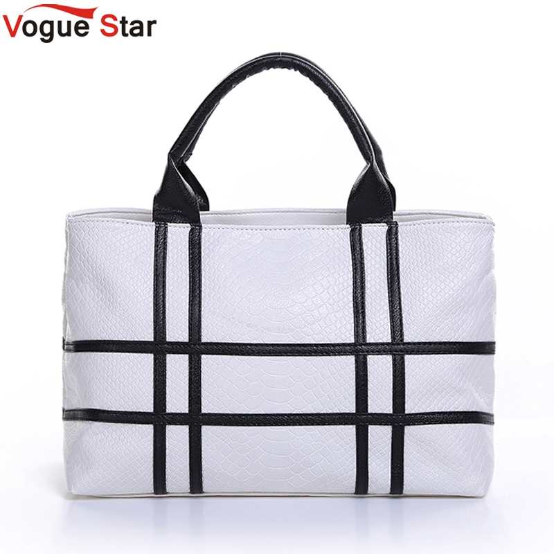 Vogue Star 2017 new black and white hit color shoulder bag  pu leather crocodile