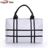 2015 New Black And White Hit Color Shoulder Bag Big Bag Pu Leather Crocodile Pattern Square