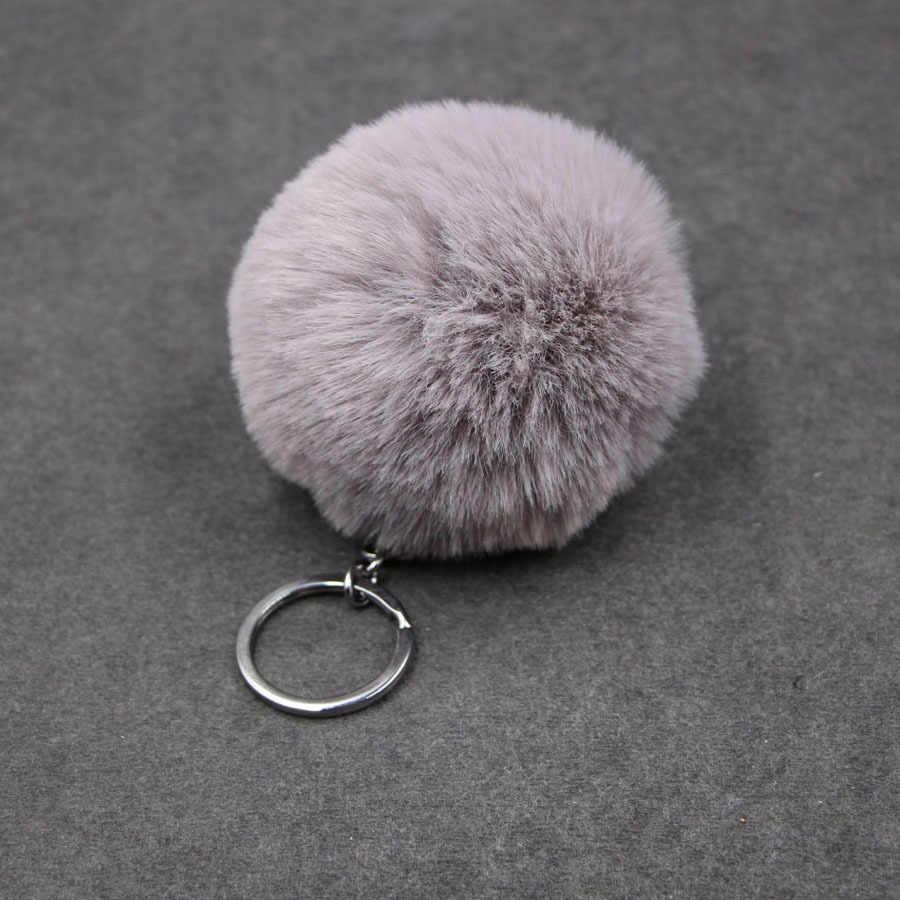 1 peça do falso bola de pele 8cm pompom chaveiro do carro chaveiro de pele de coelho bola chaveiro marca pompons saco encantos com correntes chaveiro