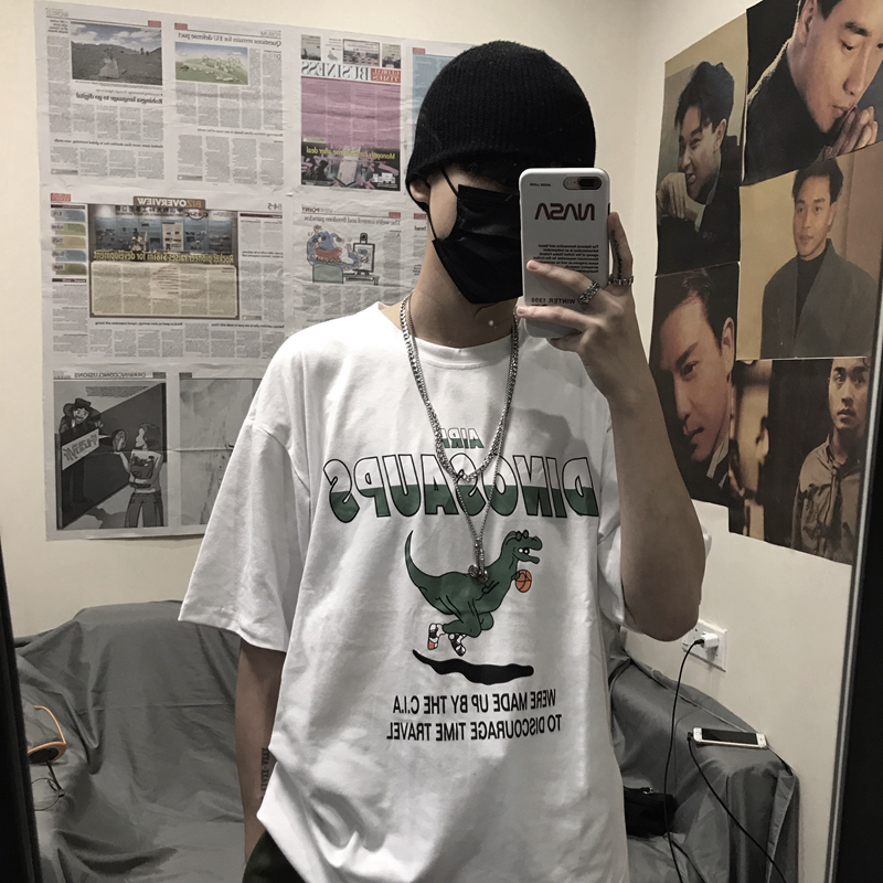 Cartoon Dinosaur Print Funny Summer Man T Shirt Half Sleeve Japan Vintage Tops 2019 Fashion Hip Hop Oversized Streetwear Clothes