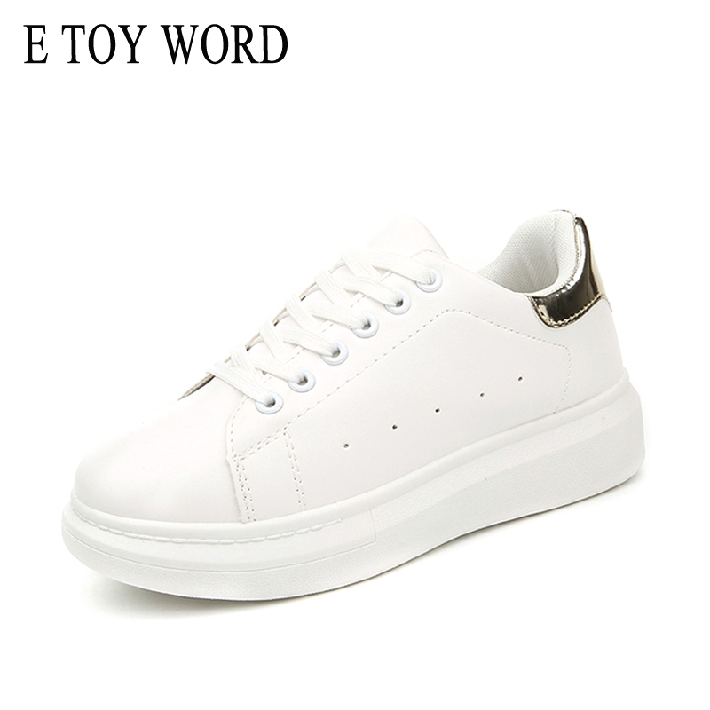 E TOY WORD New Spring Breathable Small White Shoes Women Thick Bottom Sneakers Casual flats Shoes Women Increase Platform Shoes 2017 new spring imported leather men s shoes white eather shoes breathable sneaker fashion men casual shoes