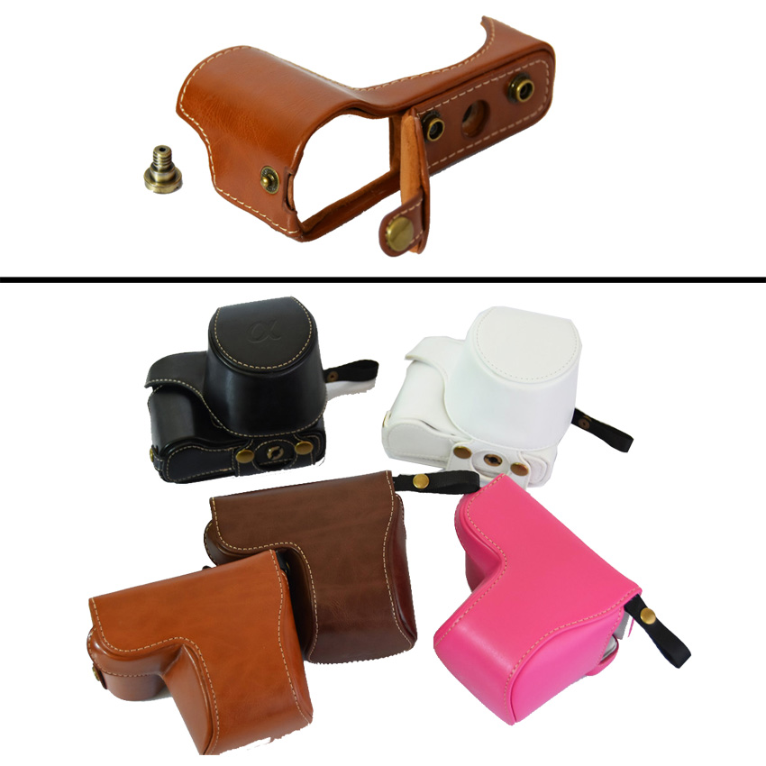 High Quality 5 Colors Leather Camera Bag Case For Sony A5000 A5100 NEX 3N NEX-3N 16-50mm lens take out battery easy