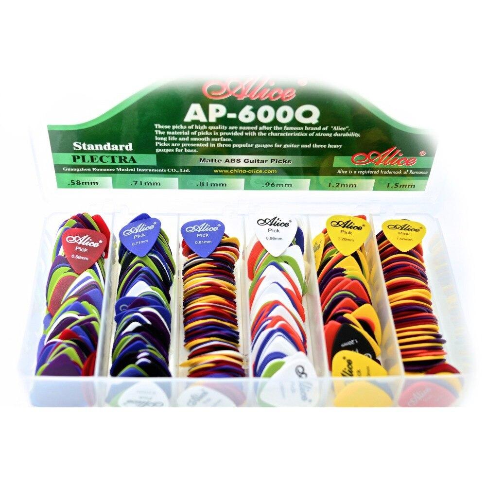 Alice 600pcs Guitar Picks Matte ABS Antiskid Antislip Plectrum Acoustic Electric 0.58mm 0.71mm 0.81mm 0.96mm 1.2mm 1.5mm 600Q