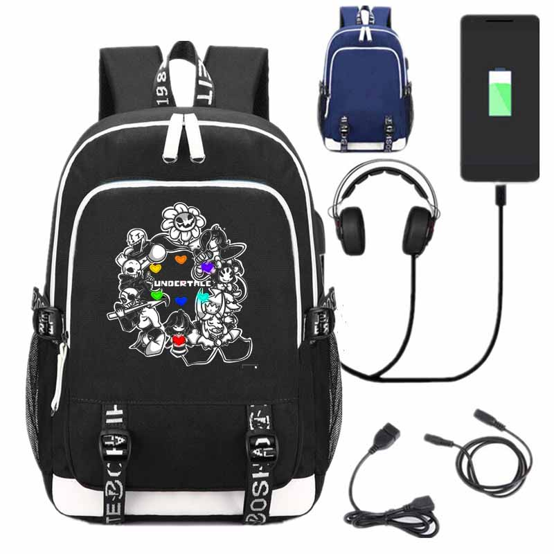 все цены на New Game Undertale School Backpack USB Charge Interface Bags Anime Unisex Black Shoulder Laptop Travel Bags