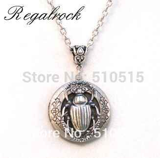 Regalrock Hot Steampunk Beetle Scarab Locket Pendant Necklace