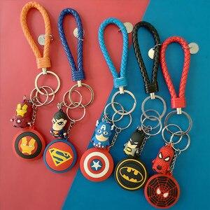 3D Cartoon PVC Marvel Avengers Keychains Superheroes Batman Iron Man Spider Man Key ring Kids Schoolbag Pendant Gift