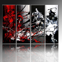 Top Supplier Supply High Quality Combination Abstract Oil Painting On Canvas Abstract Black White And Red Oil Paintings