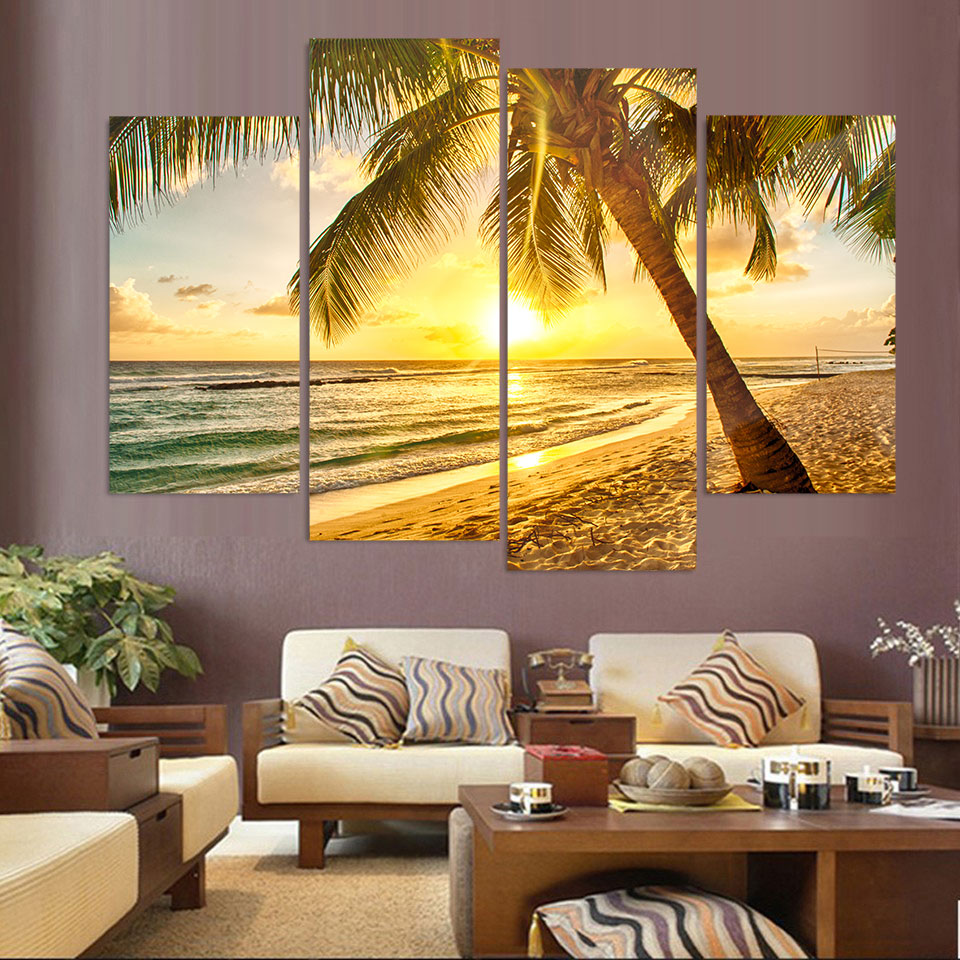 4 Pcs Canvas Art Canvas Painting Sunshine Coast Sand HD Printed Wall ...
