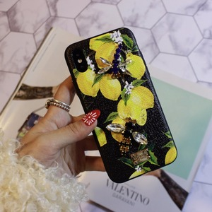 Image 2 - Aoweziic Hot Flower lemon For iPhone X XS MAX XR mobile phone shell Dragonfly butterfly 6S 7 8Plus water drill protection sleeve