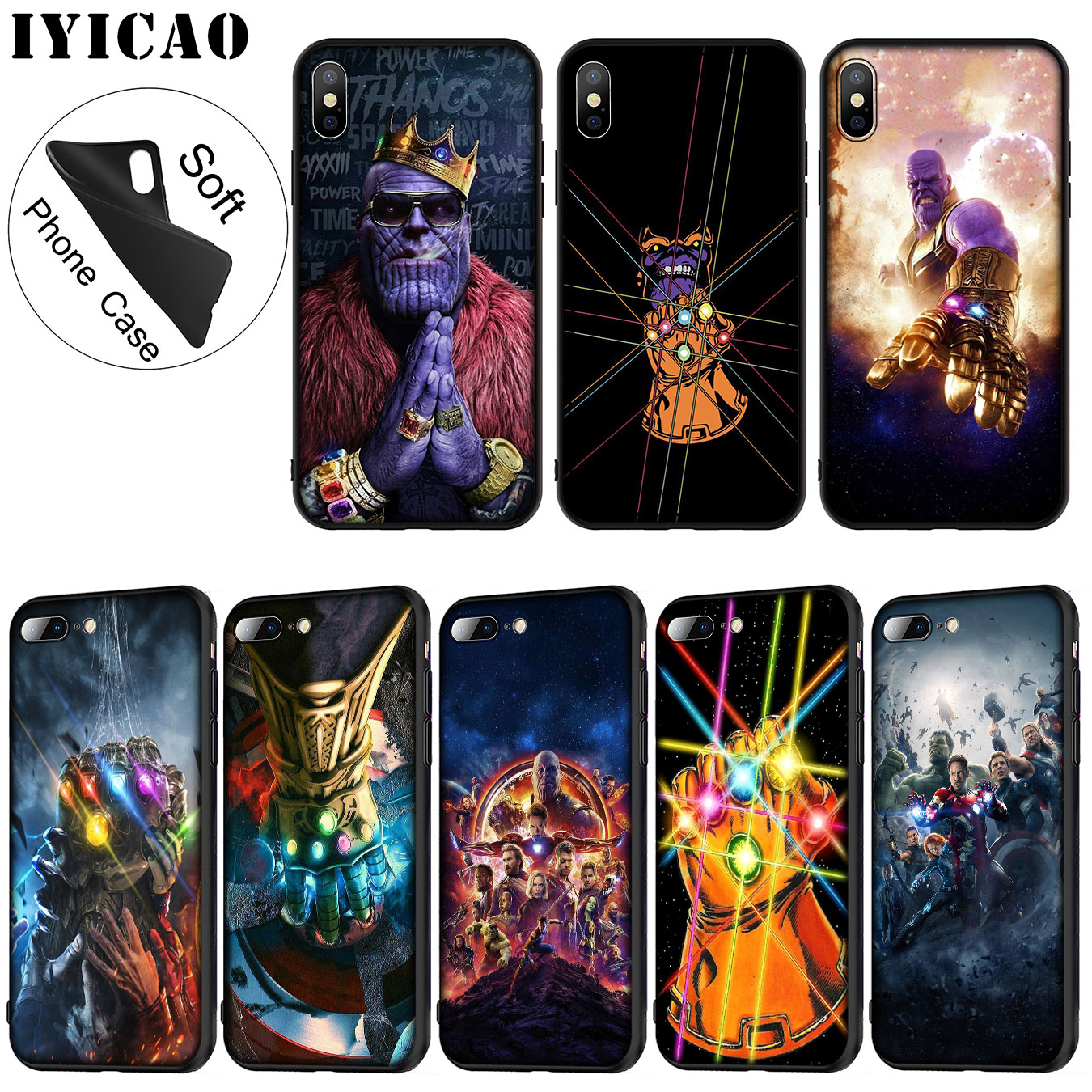 IYICAO The Avengers Thanos  Marvel Soft Silicone Phone Case for iPhone XR X XS 11 Pro Max 6 6S 7 8 Plus 5 5S SE TPU Black Cover