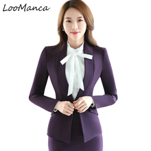 Plus Size Casual Slim Women Jacket Blazer 2017 New Autumn Winter Purple Female Business Suit Female  Elegant Bleiser Mujer