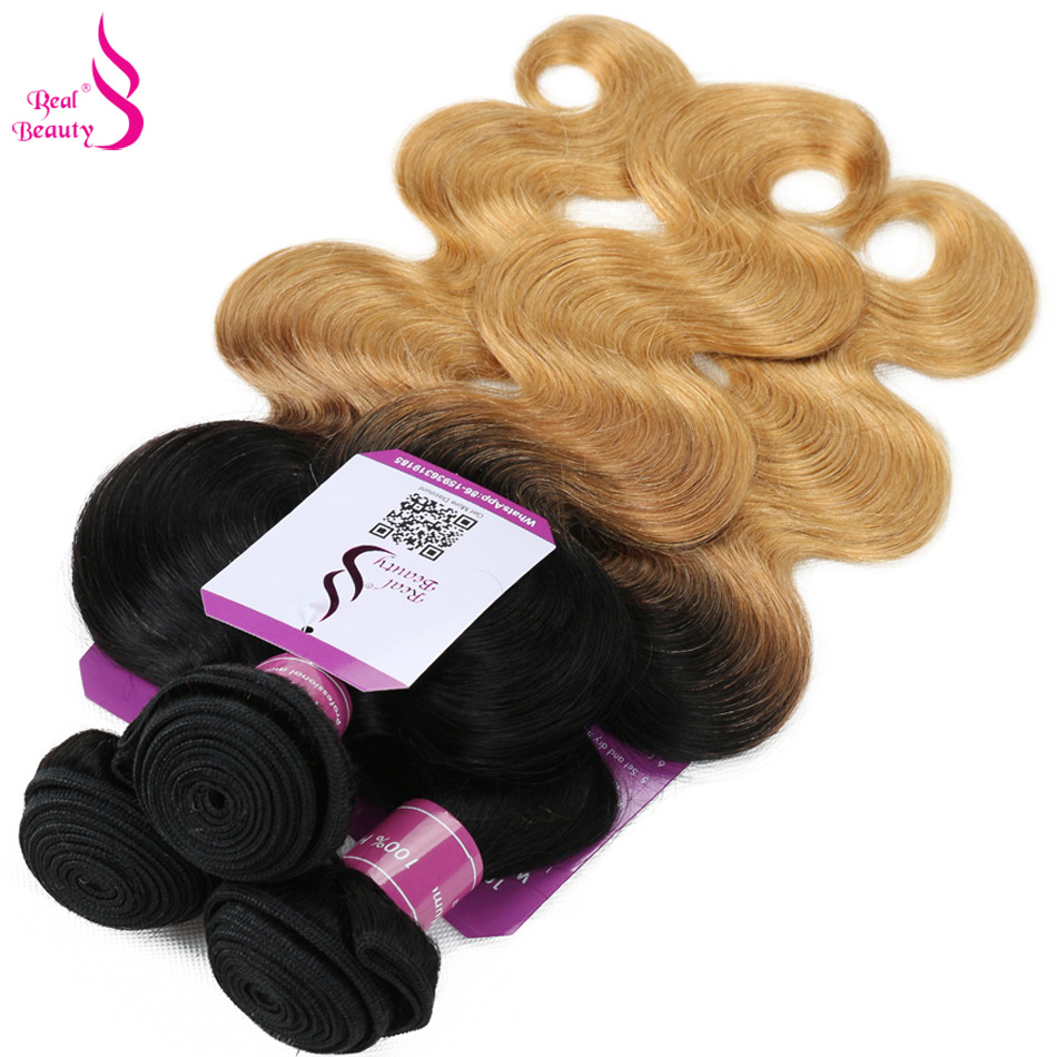Real Beauty Ombre Brazilian Body Wave Hair Bundles T1B/27 Human Hair Extensions Two Tone Honey Blond Remy Hair Weaving Free Ship