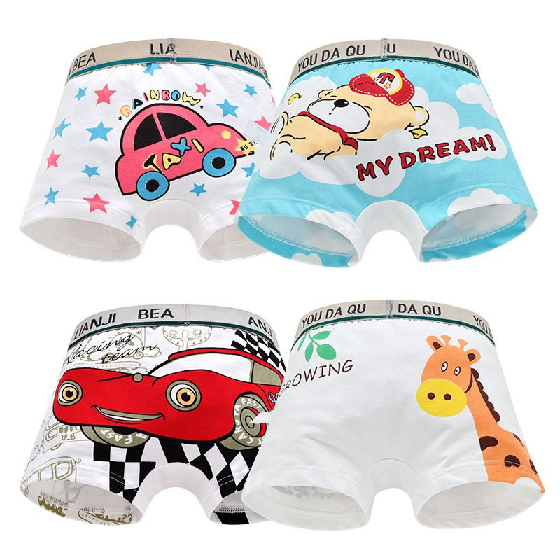Children 100% Cotton Underwear Boys Suits Cartoon Animal Print Cotton Panties Boxer Briefs Shorts Toddler Kids Bottoms