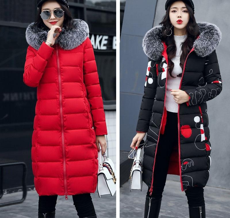 19 winter women hooded coat fur collar thicken warm long jacket female plus size 3XL outerwear parka ladies chaqueta feminino 12