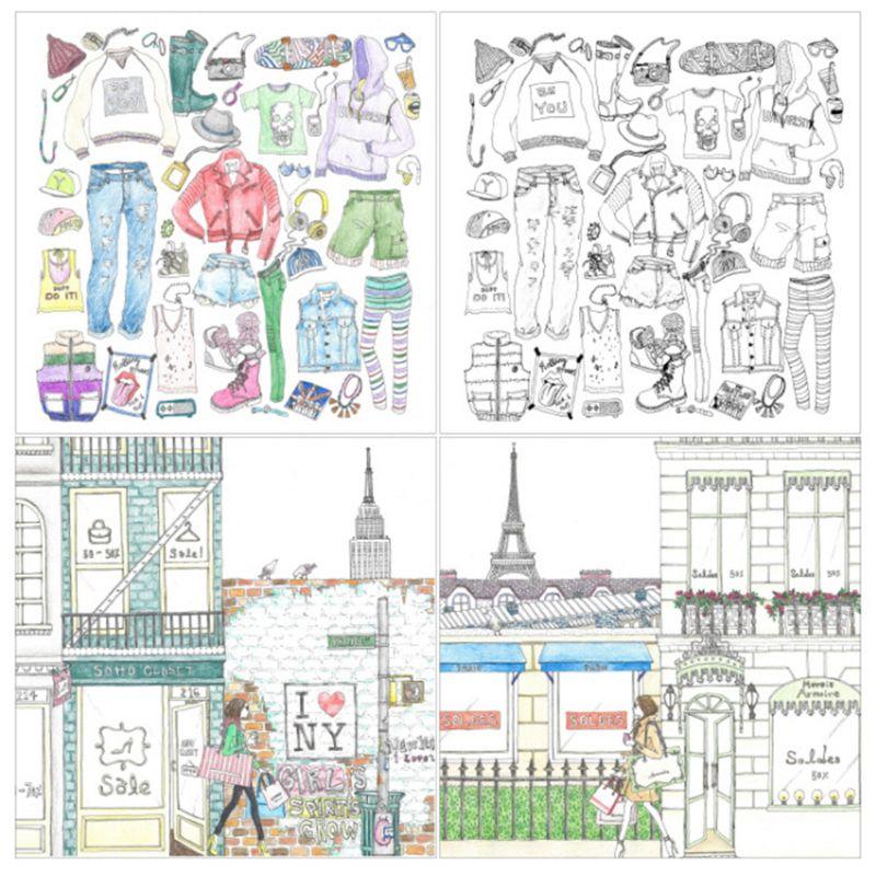 Fashion Design Children Kids Gift Coloring Book Girls Modern Style Drawing Books Graffiti Painting Supplies C26