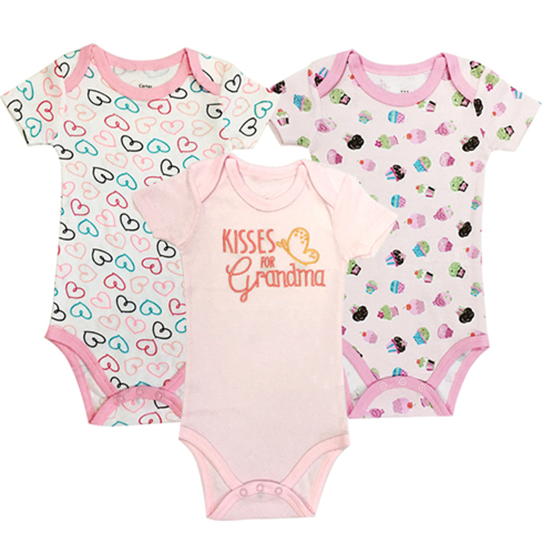 100% Cotton Baby Bodysuit 3pieces/lot Newborn Cotton Body Baby Short Sleeve Underwear Next Infant Boy Girl Pajamas Clothes 3pcs set newborn infant baby boy girl clothes 2017 summer short sleeve leopard floral romper bodysuit headband shoes outfits
