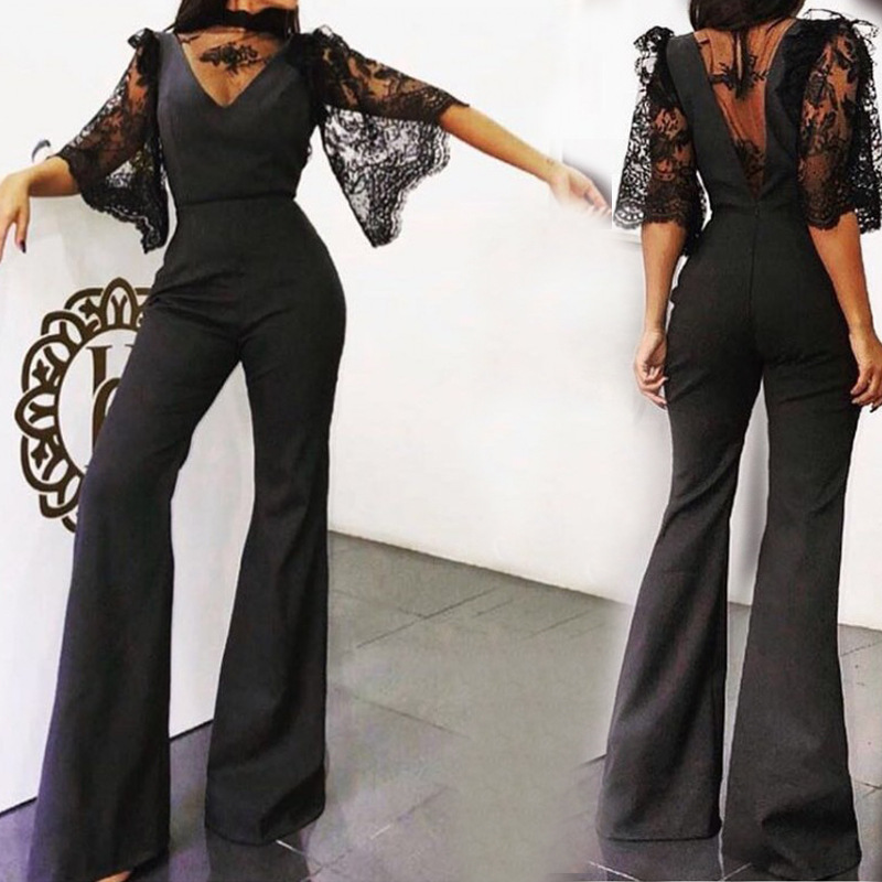 jumpsuits for women 2019 black lace bodysuit sexy chiffon transparent elegant backless wide leg jumpsuit one piece overalls in Jumpsuits from Women 39 s Clothing