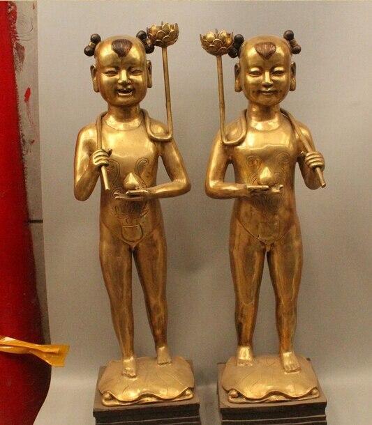 """006478 31 """"China bronce soporte Tong Zi niño niña flor de loto Ru Yi candelabro estatua Pa"""