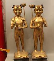 006478 31 China bronce soporte Tong Zi niño niña flor de loto Ru Yi candelabro estatua Pa