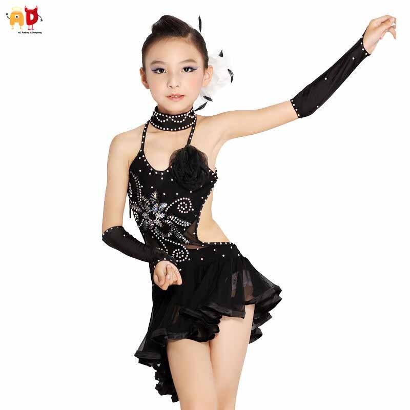 AD Delicate Girls Latin Dance Dress Professional Big Girls Tutu Performance Training Dresses Children's Clothing Dancing все цены