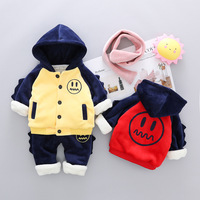 Children's Suit New Children's Clothing Boy Plus Velvet Thick Sweater Girls Smile Two piece Kids Clothes Boys Clothes Fashion