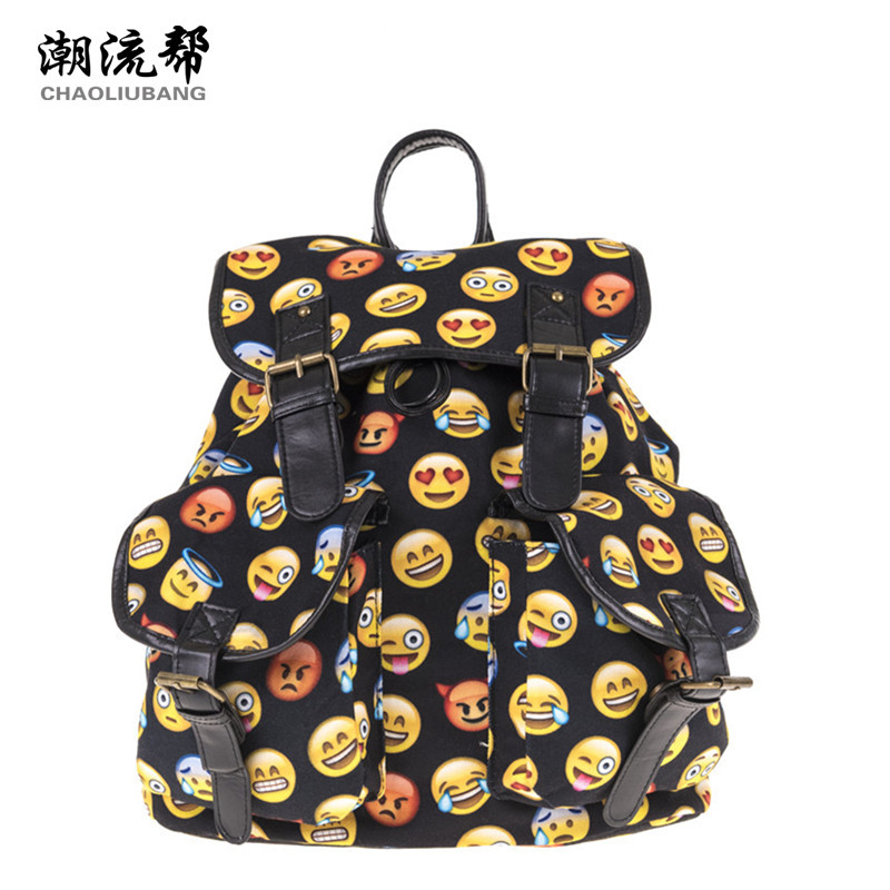 CHAOLIUBANG Black Women Backpack 3D Emoji Printing School Bag for Teenage Girls Boys Travel Daypack Canvas Mochila Two Pockets emoji black 3d printing 2017 high quality women canvas backpacks smiley school bag for teenagers girls shoulder bag mochila