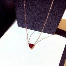 CX-Shirling Red Stone Heart Shape Pendant Short Necklace Female Zircon Necklaces Rhinestone Round Circle Pendant Necklace rhinestone metal round gemini pendant necklace
