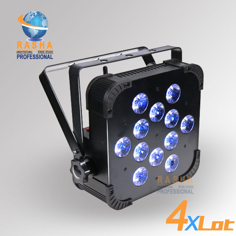 4X Rasha Quad V12-12pcs*10W 4in1 RGBW/RGBA Wireless DMX LED Par Profile,LED Flat Par Light For Disco Party Club With DMX IN&OUT 8x lot hot rasha quad 7 10w rgba rgbw 4in1 dmx512 led flat par light non wireless led par can for stage dj club party