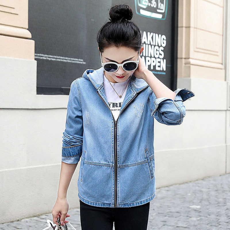Bayanlar Denim Ceketler Kadın Bahar Turn Down Yaka Delik Uzun Kollu Rahat Kot Ceket Kadın Kot Ceket Giyim Artı Boyutu