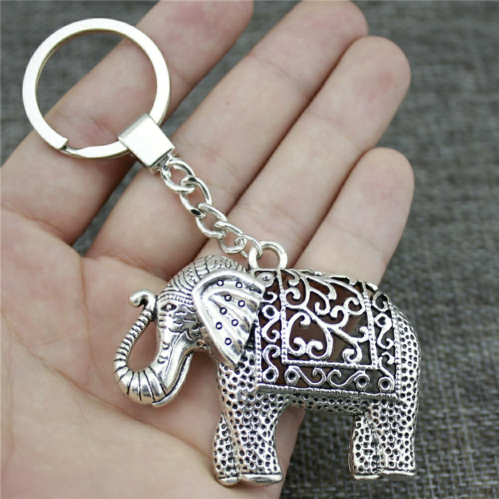 Keyring Elephant Keychain 59x47mm Antique Silver Color Elephant Key Chain Party Souvenir Gifts For Women