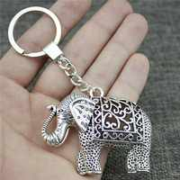 Keyring Elephant Keychain 59x47mm Antique Silver Elephant Key Chain Party Souvenir Gifts For Women