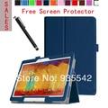 Ultra-delgada Folio delgado PU del soporte del cuero de la cubierta del libro para Samsung Galaxy Note 10.1 2014 edición de la tableta P600 / P601 / P605 ( DB )