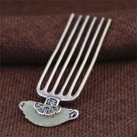 Inlay Thai Silver Hair Comb Vintage Chinese Style Silver Hairpin Peony Flower Hair Pin Jewelry Hair Accessories WIGO1209